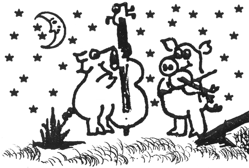 image of two pigs playing a fiddle and base